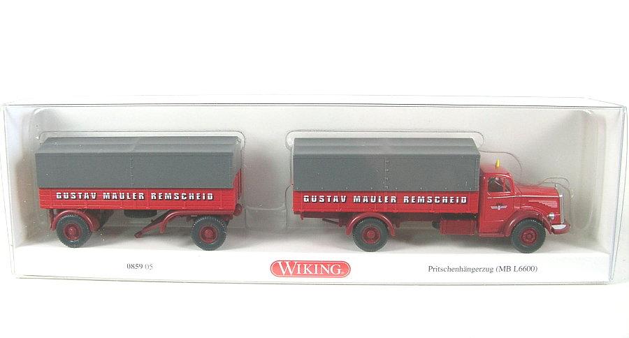 Wiking 085905-1//87 Pritschenhängerzug Mb L 6600 - Neu